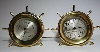 Seth Thomas Helmsman Ships Clock E537-001 Weather Barometer Nautical Sailing