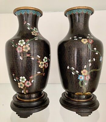 Pair Of ANTIQUE  CHINESE Cloisonne Vases, Beautiful and Perfect.