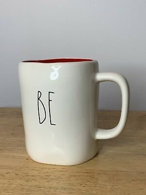 """Rae Dunn """"BE"""" """"MINE"""" Double Sided Valentine's Day Mug Red Interior HTF"""