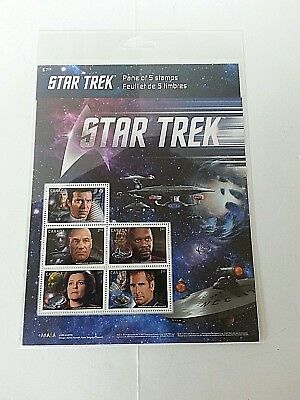 Star Trek 50Th - Year 2 Pane Of 5 Stamps Canada 2017 Mint