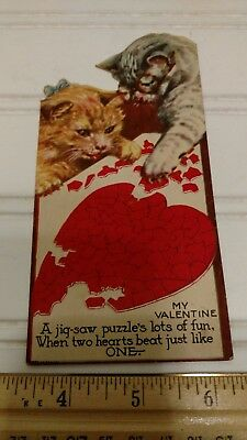 Vintage Made in Canada Valentine Card-Cats with a Jig-saw Puzzle