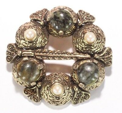 Brooch Pin - Signed Sol D'or - Celtic - Green Stones - Faux Pearls - Gold Tone