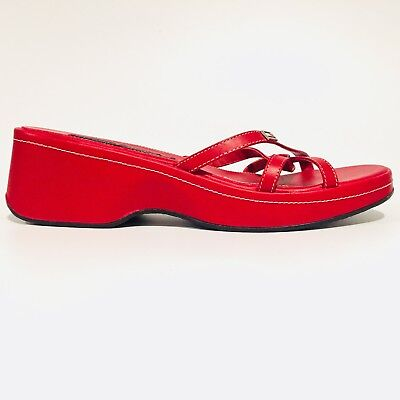 13285608ca83 Tommy Hilfiger Wedge Sandals Red Leather Crossed Strap Shoes Women s Size 9  M