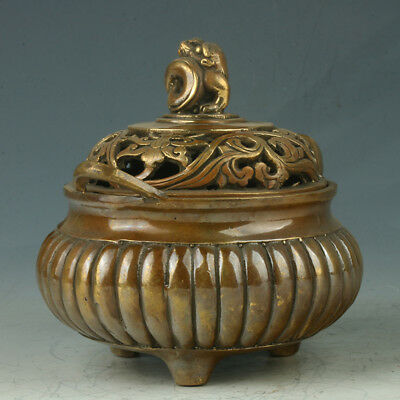 China Exquisite Brass Incense Burner Carved Dragon Head RT1073+a