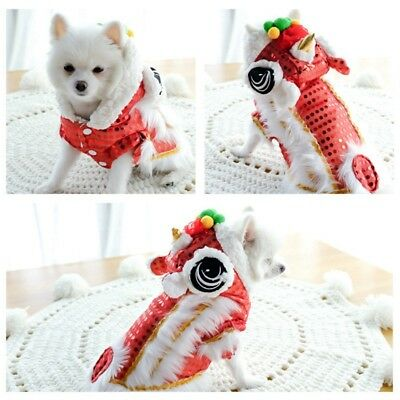 Chinese New Year Puppy Dog Cat Pet Shirt Red Cosplay Costume Dog Jacket Clothes