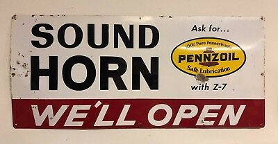 """Vintage SOUND HORN We'll Open PENNZOIL 32""""x14"""" One-Sided Metal Garage Sign"""