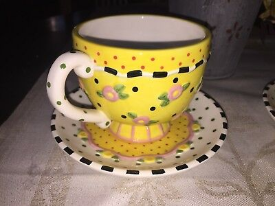 Darling Mary Engelbreit ME Ink 2001 Tea/Coffee Cup & Saucer Yellow Pink Flowers