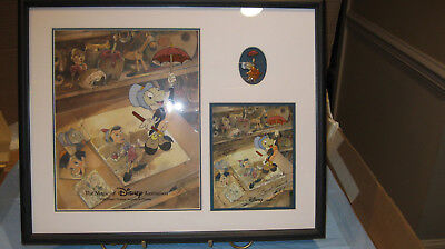 """Disney """"Just Dropping By"""" Ink and Paint Collection Pinocchio 17"""" x 21"""" framed"""