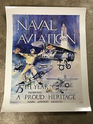 "A Proud Heritage Naval Aviation Museum Poster 29 x 23"" 75th Year WWII Shuttle"