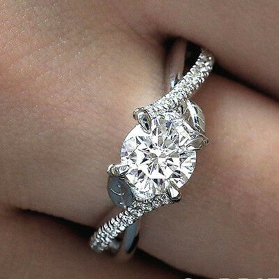 Fashion Women 925 Silver Wedding Engagement Rings White Sapphire Ring Size 6-10