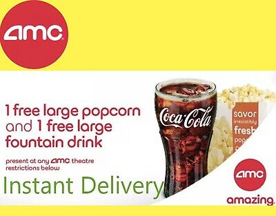INSTANT DELIVERY  4 SETS AMC: 4 LARGE Popcorn and 4 LARGE Drink - exp 6/30/20