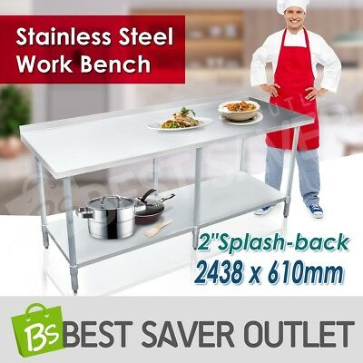 2438 x 610mm Commercial 430 Stainless Steel Work Bench Kitchen Food Prep Table