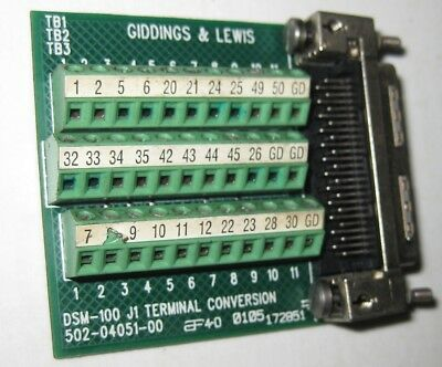Giddings & Lewis 502-04051-00 Terminal Conversion Breakout Board in VGC