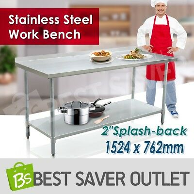 1524 x 762mm Commercial 430 Stainless Steel Work Bench Kitchen Food Prep Table