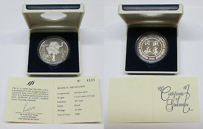 #41: 1986 SINGAPORE .999 1oz TIGER PROOF SILVER MEDAL (UNC) WITH BOX & COA#4121