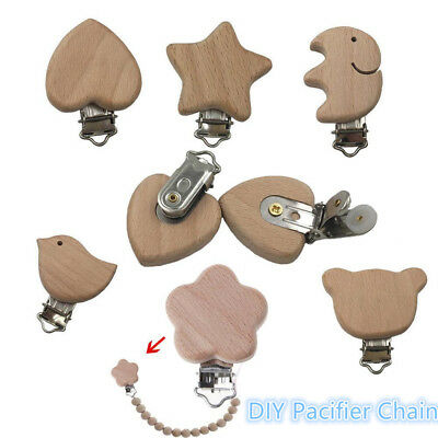 Infant Natural Color Pacifier Clip Dummy Holder DIY Pacifier Chain  Beech Wood