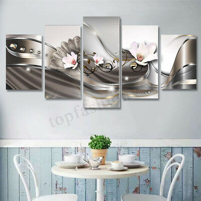 Framed 5pcs Flower Abstract Canvas Print Painting Picture Home Wall Art Decor 1