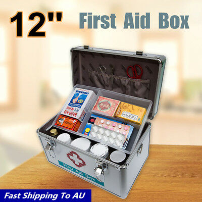 12'' Family Office Deluxe Lockable Medicine Storage Box First Aid Carry Case 1
