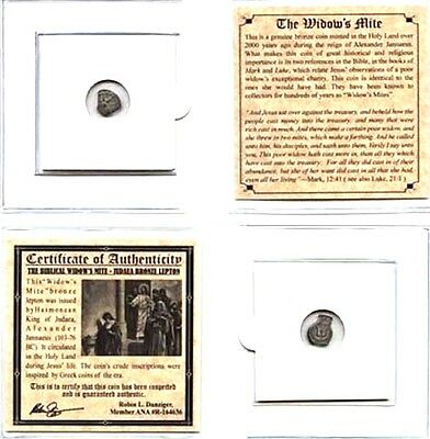 One(1) ANCIENT Widow's Mite Coin of King Janeaus, Bronze Lepton,Mini Album,Story