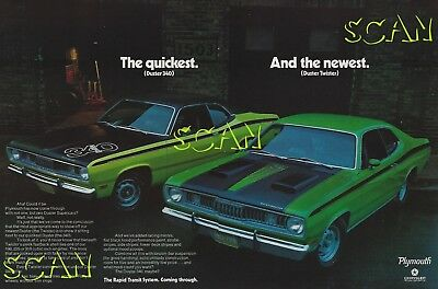 1971 Plymouth Duster Ad Vintage 2 Page Magazine Advertisement 340 Wedge Twister