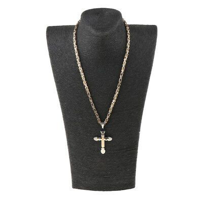 5mm Stainless Steel Mens Byzantine Chain Necklace Cross Pendant Jewelry