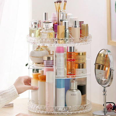 360 Degree Rotating Makeup Organizer Acrylic Cosmetic Display Spinning Rack AU