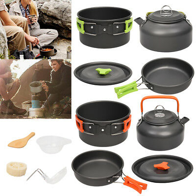 Outdoor Cooking Camping Kettle Pan Pots Cook Set Ideal For Camp Fishing Travel