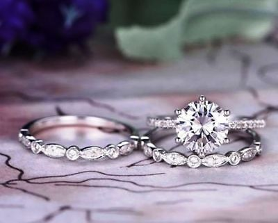 2.50 Ct Round-Cut VVS1 Moissanite Solitaire Engagement Ring 14K White Gold