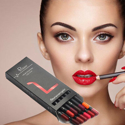 12Pcs Women Matte Lipstick Pencil Lip Liner Long Lasting Waterproof Cosmetic Set