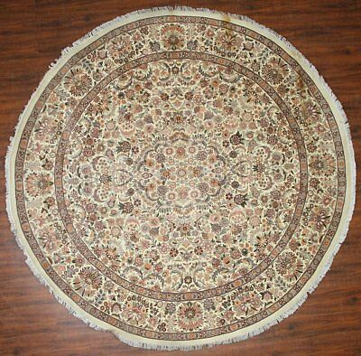 Traditional Hand Knotted Persian Round Area Rug Beige Color Modern Rugs (8 x 8)