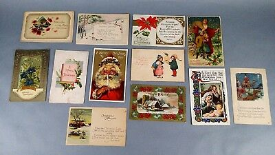 12pc Antique Vintage Lot of Postcards Christmas Greetings Holiday Some w/ stamp