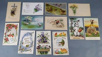 12pc Antique Vintage Lot of Postcards Christmas Greetings Holiday Couple stamps