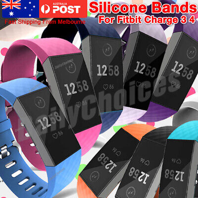For Fitbit Charge 3 Classic Silicone Replacement Band Watch Strap Diamond-Textur