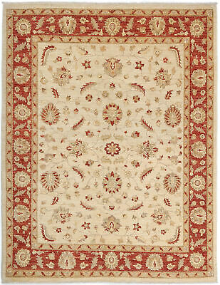 Traditional Hand Knotted Modern Chobi Area Rug Beige/Red Turkish Rugs (6.5 x 8)