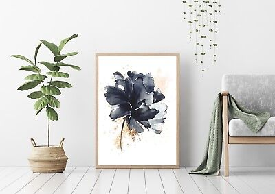 Wall Art Print, Poster, Indigo Blue Watercolour Flower with gold and blush pink