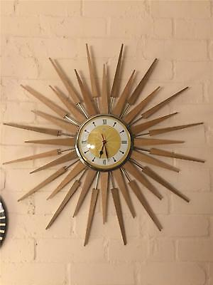 Large Mid Century Seth Thomas Style Starburst Clock Hand Made in the UK