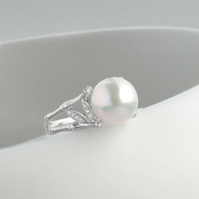 AAA White Japanese Akoya Sea Pearl Bamboo Ring 14k Solid White Gold au585 Size 7