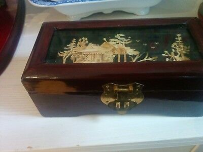Pretty Chinese vintage red satin lined wood/laquer Cork Picture Lid Jewelry Box