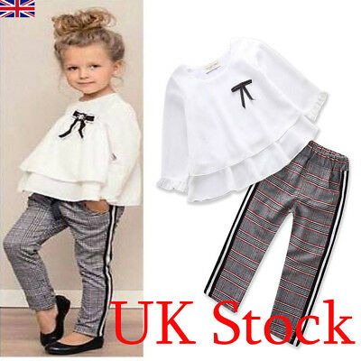 Toddler Baby Girls Tops T-shirt + Trousers Pants Kids Casual Clothes Outfits UK