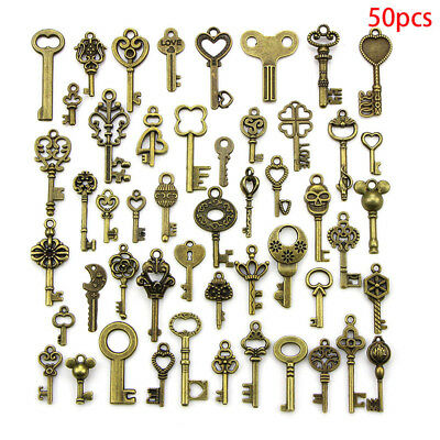50PCS DIY Mixed Vintage Key Charms Pendant Steampunk Bronze Jewelry Findings 0cn