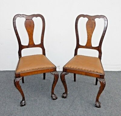 Pair Brown Leather Chippendale Style Carved Wood Accent Chairs Ball & Claw Feet