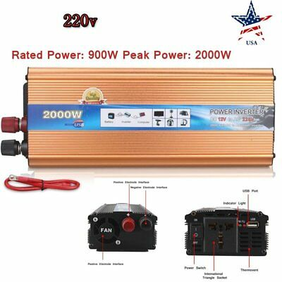 900W/2000W Car Power Inverter DC 12V To AC 220V Charger Converter with USB Port