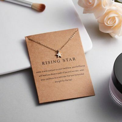 Fashion Gold Simple Rising Star Charms Pendant Necklace Womens Jewellery Gifts