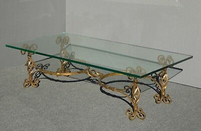 Vintage Spanish Gothic Renaissance Gold Wrought Iron Coffee Table w Glass Top