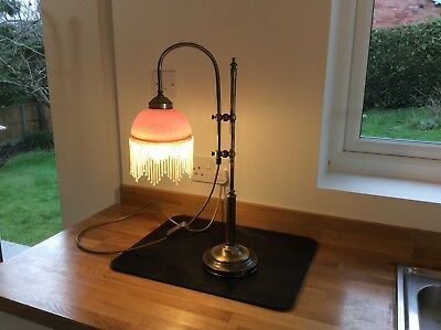 Victorian Style Lamp / beaded shade, adjustable reading lamp