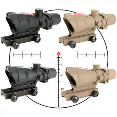 Rifle Scope ACOG 4X32 Optic Sight Reticle Real Red Fiber For Hunting
