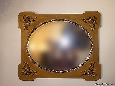 Antique Victorian Style Gold Gilt Floral Carved Wood Wall Mirror
