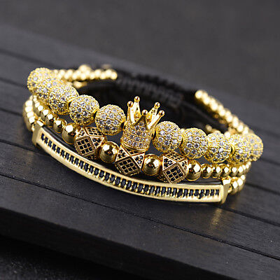 Luxury Fashion Men Micro Pave CZ Ball Crown Braided Adjustable Bracelets Jewelry
