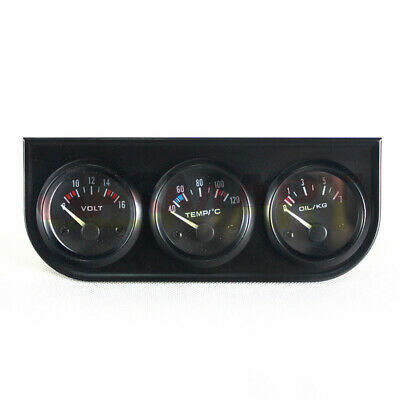 52mm 3 In 1 Voltage, Water Temperature And Oil Pressure Car Meter 12V Universal