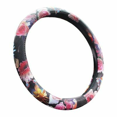 Handmade Steering Wheel Cover Folkloric Floral Flowers Pearl rose pattern S I4A1